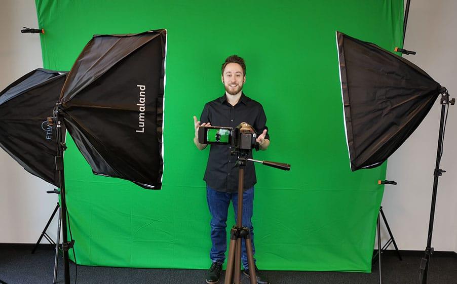 Set für eine Greenscreen Aufnahme