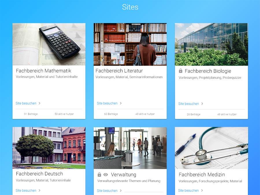 Strukturierung Hochschule mit Sites