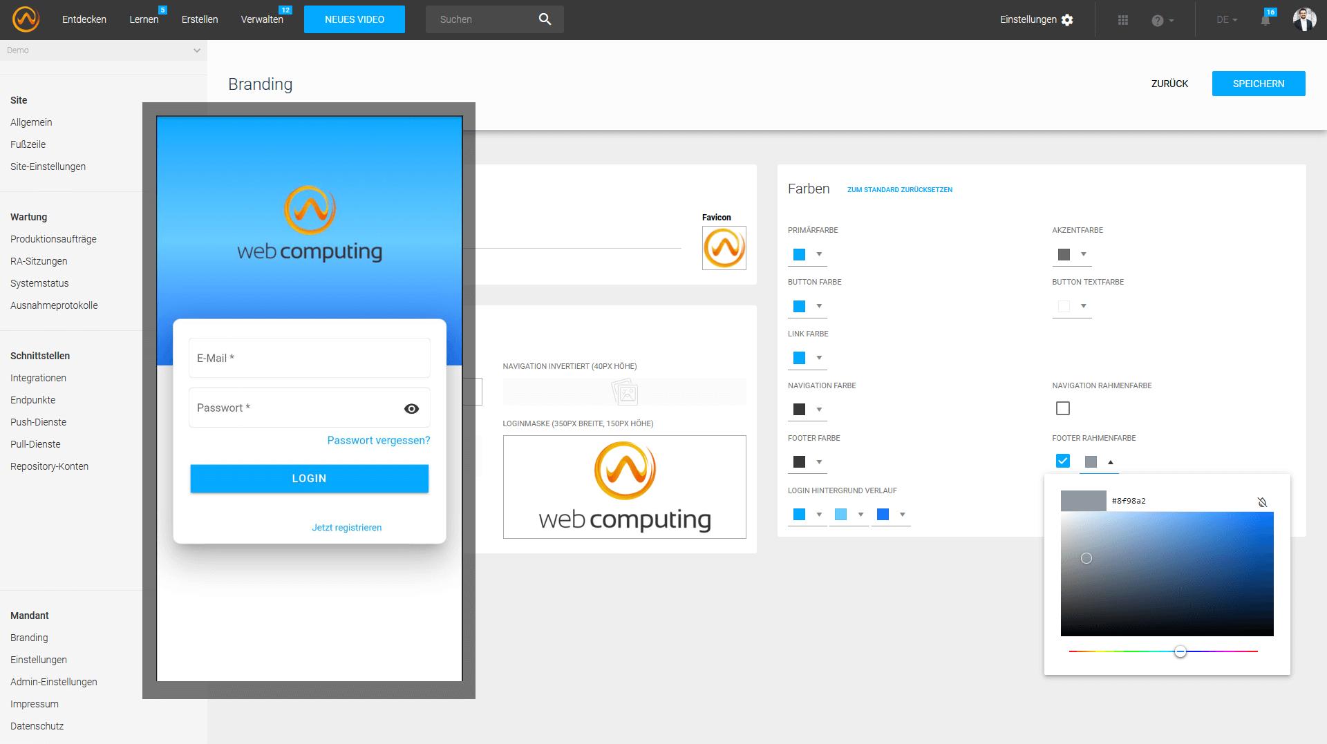 individuelles Branding der mobile coovi App