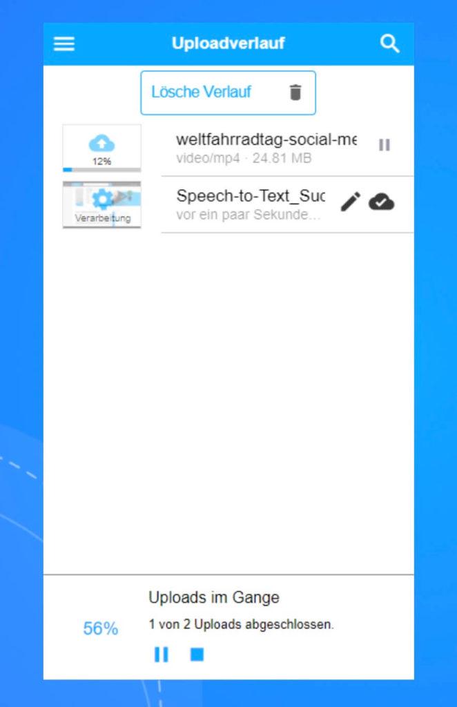 Multi-Video-Upload-Funktion in der coovi App