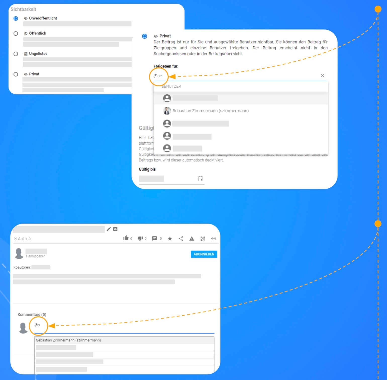 Interagieren durch Taggen von Usern